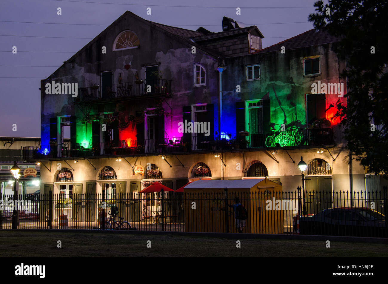 New Orleans USA July 13 2015 Multicolored lights building
