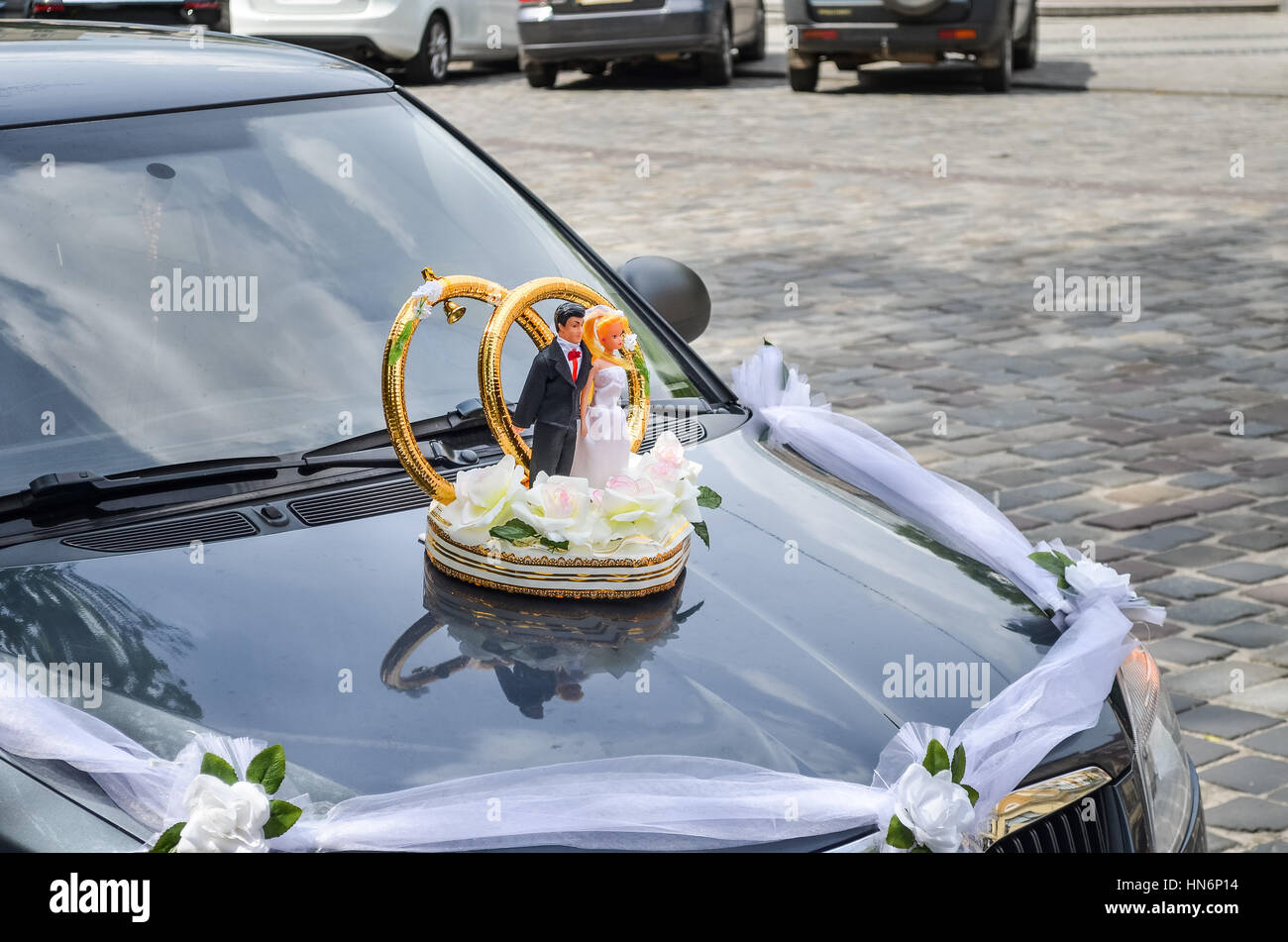 Wedding decoration on car with bride and groom stock photo wedding decoration on car with bride and groom junglespirit Gallery