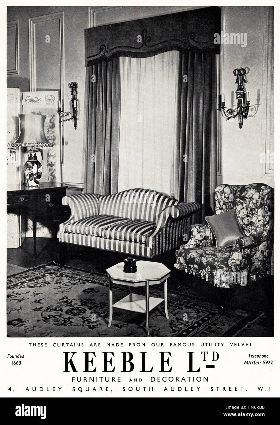 1950s Advertising Advert From Original Old Vintage English Magazine Dated  1950 Advertisement For Traditional House Furniture By Keeble Ltd Of Audley  Square ...