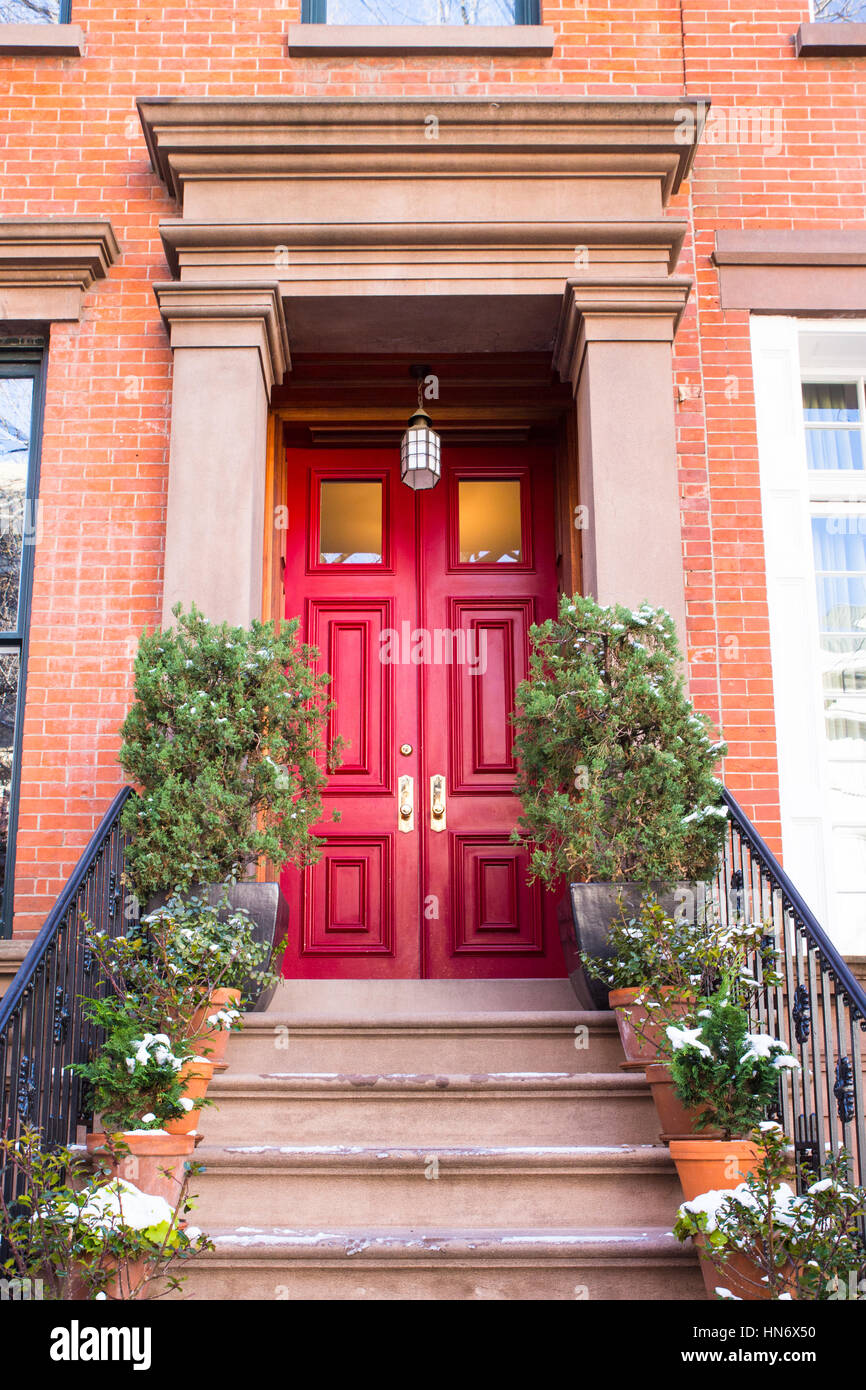 brick apartment building entrance. Typical Entrance door to a New York City apartment building residential home Stock