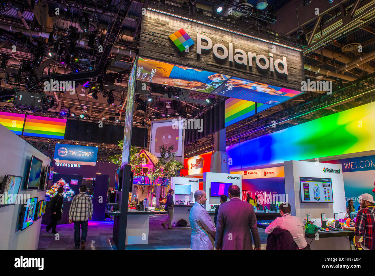 the polaroid booth at the ces show in las vegas ces is the world 39 s stock photo royalty free. Black Bedroom Furniture Sets. Home Design Ideas