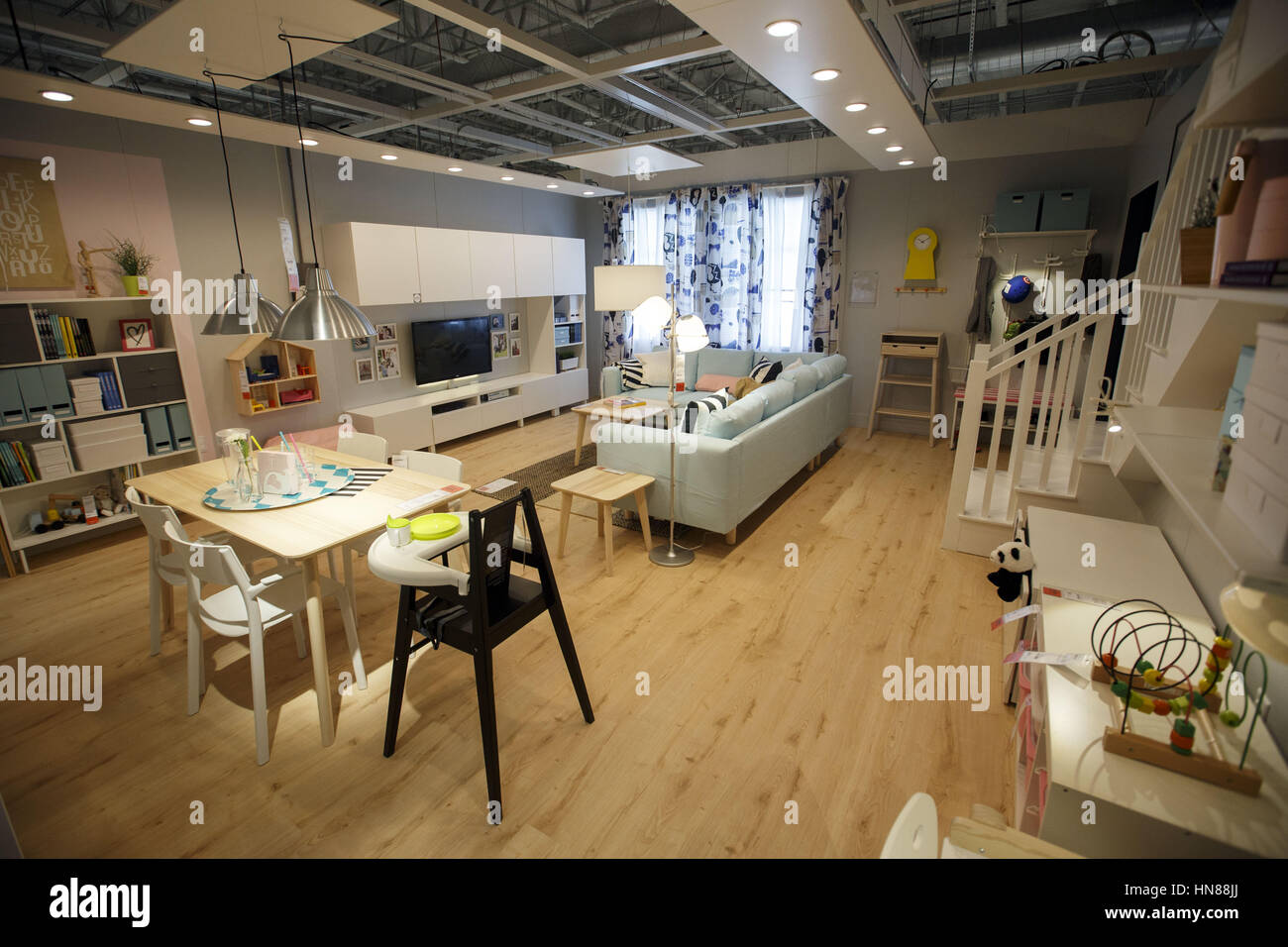 Burbank, CA, USA. 1st Feb, 2017. A Family Room Display During A Preview Of  The New IKEA Burbank Home Furnishings Store On Wednesday, February 1, ...