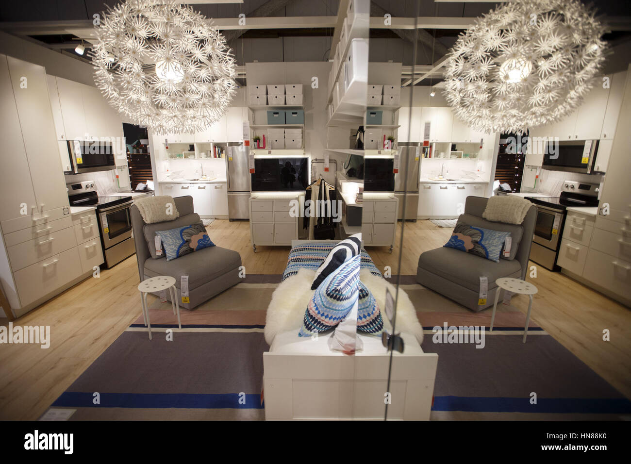 Burbank, CA, USA. 1st Feb, 2017. A Display For A 270 Square Foot Living  Space During A Preview Of The New IKEA Burbank Home Furnishings Store On  Wednesday, ...