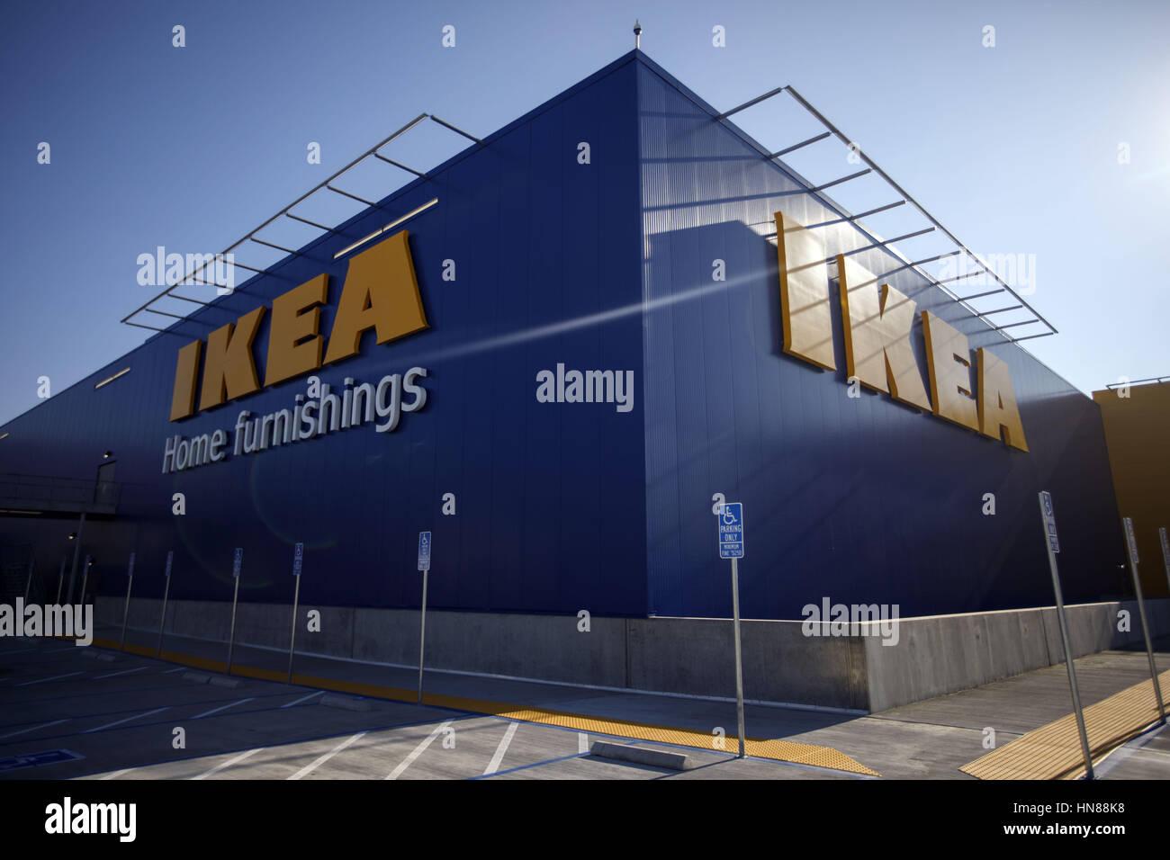 Burbank, CA, USA. 1st Feb, 2017. The IKEA Logo Is Displayed Outside The New  IKEA Burbank Home Furnishings Store On Wednesday, February 1, 2017 In  Burbank, ...