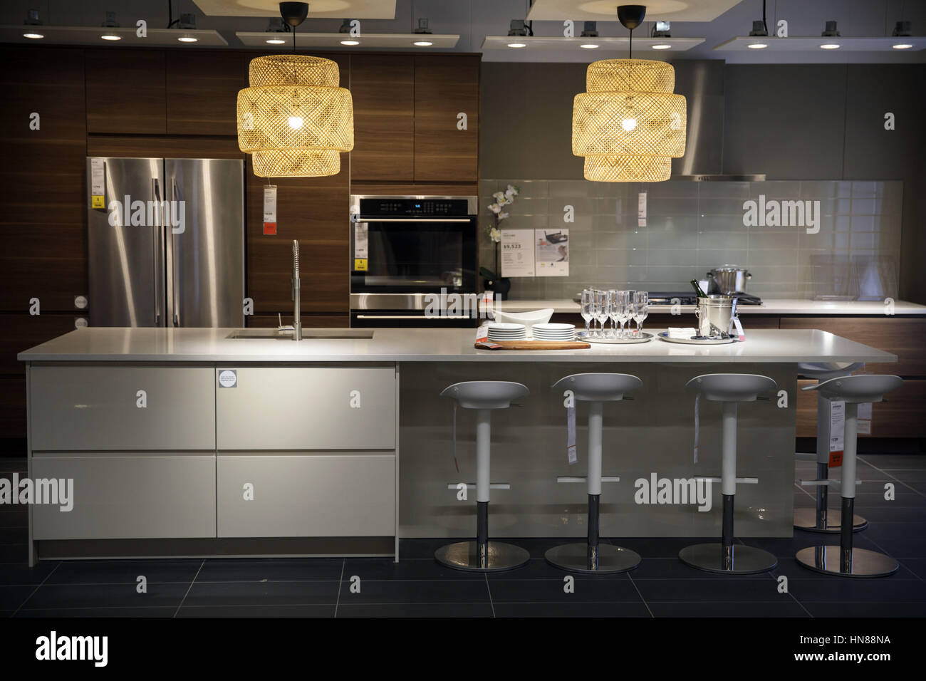 Burbank, CA, USA. 1st Feb, 2017. Lamps Hang In A Kitchen Display Space  During A Preview Of The New IKEA Burbank Home Furnishings Store On  Wednesday, ...