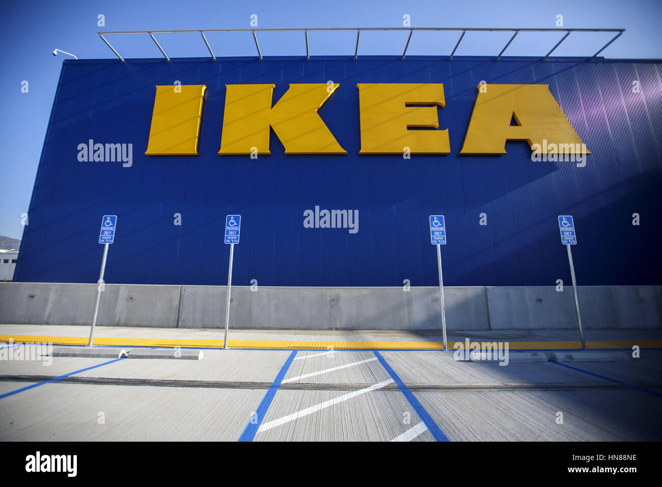 Burbank, CA, USA. 1st Feb, 2017. The IKEA Logo And Handicapped Signage Is  Displayed In The Parking Lot Of The New IKEA Burbank Home Furnishings Store  On ...
