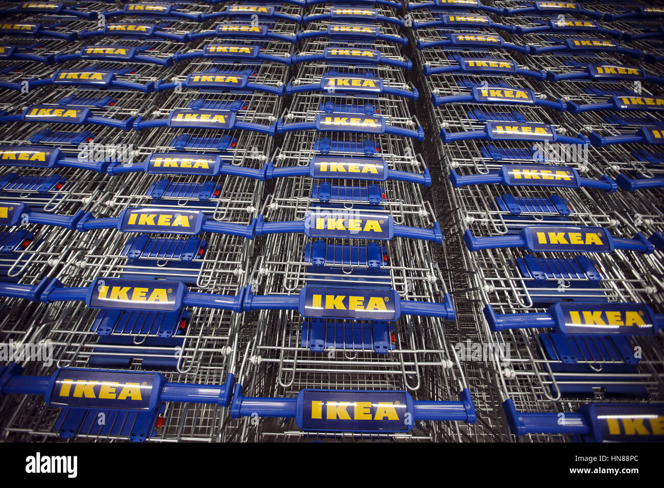 Burbank, CA, USA. 1st Feb, 2017. The IKEA Logo Is Displayed On Rows Of  Shopping Carts During A Preview Of The New IKEA Burbank Home Furnishings  Store On ...