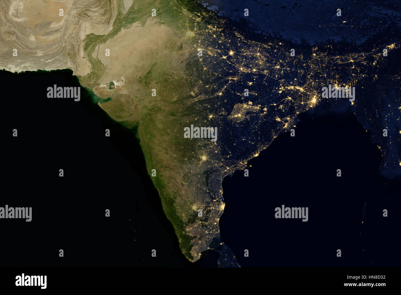 Map planet earth night and day stock photos map planet earth city lights on world map india stock image gumiabroncs Choice Image
