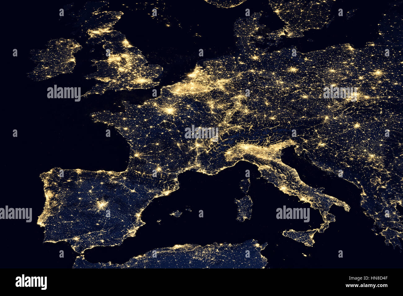 City lights on world map Europe Stock Photo Royalty Free Image
