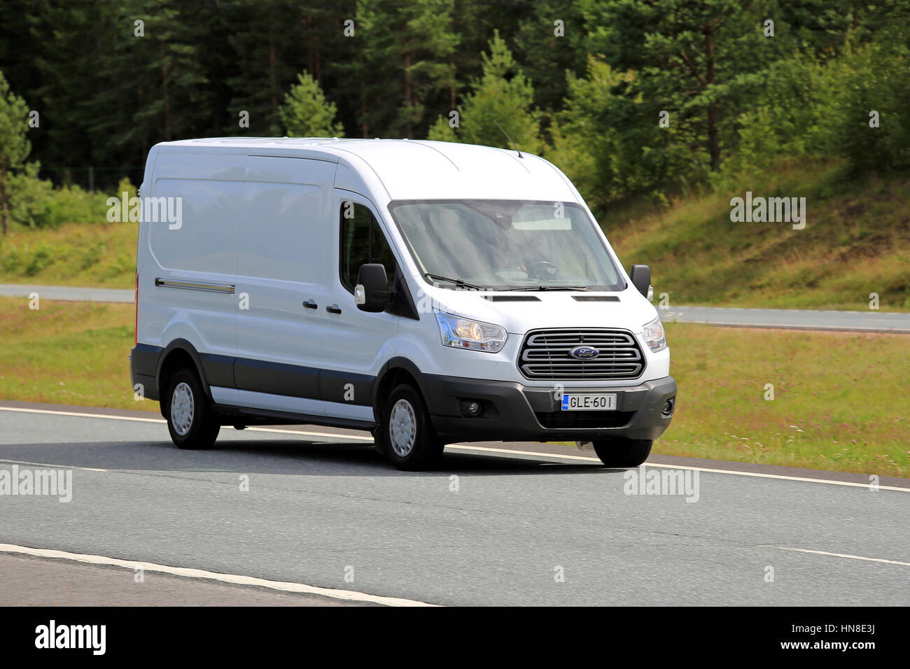 Paimio finland july 8 2017 white ford transit van moves along motorway