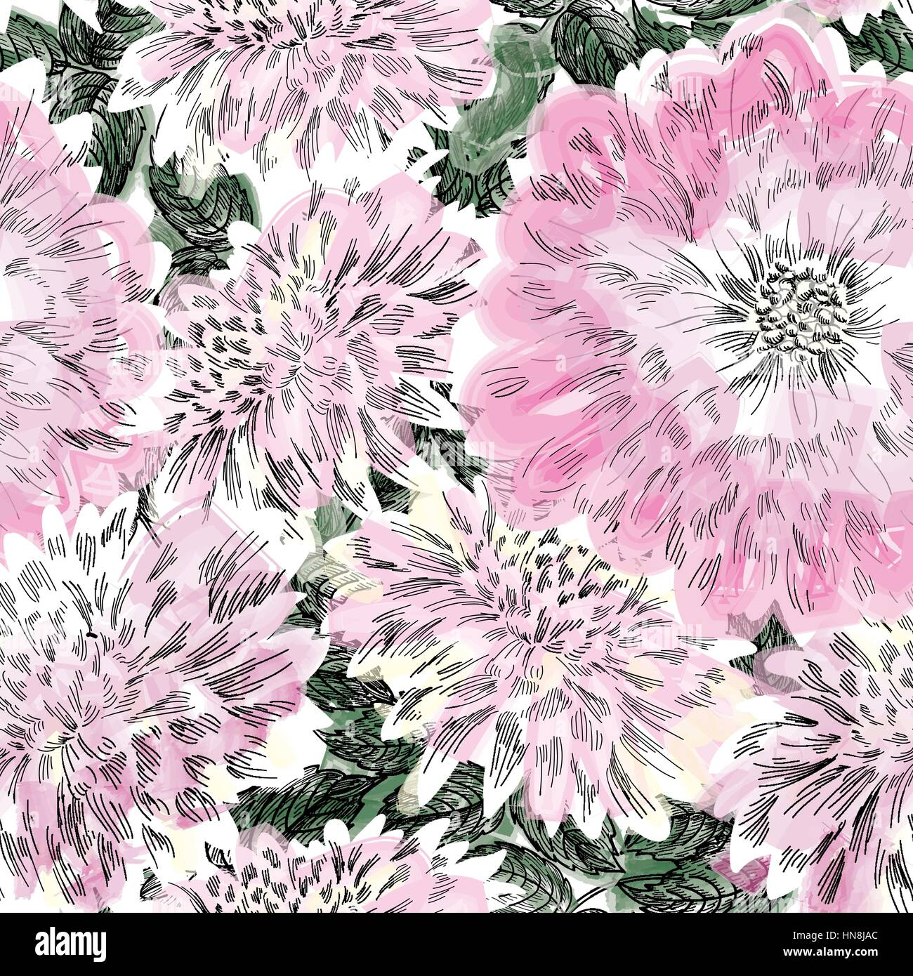 Pink floral seamless vector background floral hrysanthemum seamless - Floral Seamless Pattern Flower Chrysanthemum Background Flourish Seamless Texture With Flowers