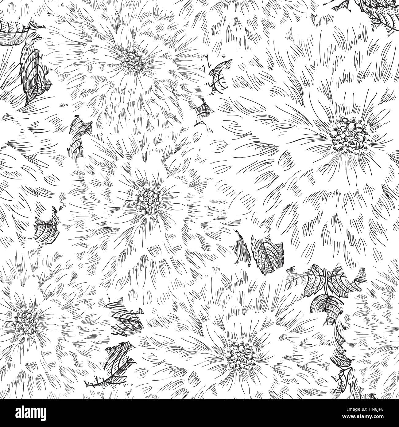 Pink floral seamless vector background floral hrysanthemum seamless - Floral Seamless Pattern Flower Chrysanthemum Sketch Chinese Style Background Flourish Seamless Texture With Flowers