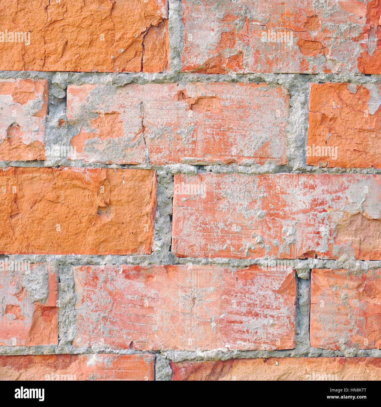 Light Red Brick Wall Texture Macro Closeup Old Detailed Rough Grunge Cracked Textured Bricks Copy Space Background Grungy Weathered Stained Vintage