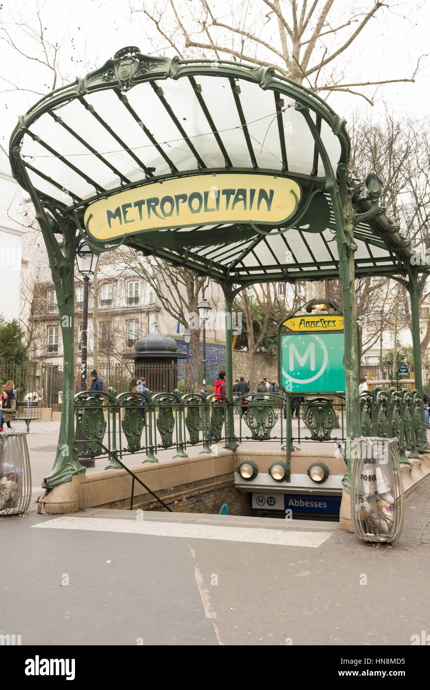 Art nouveau entrance of the metro in Paris, France, Europe Stock ...