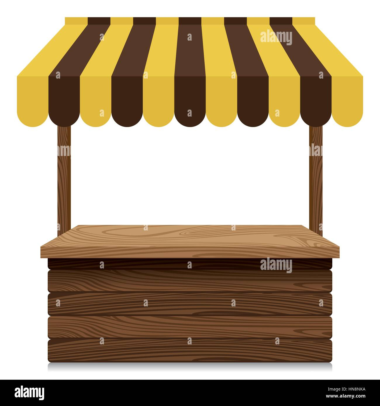 Wooden market stall with yellow and brown awning on white ...