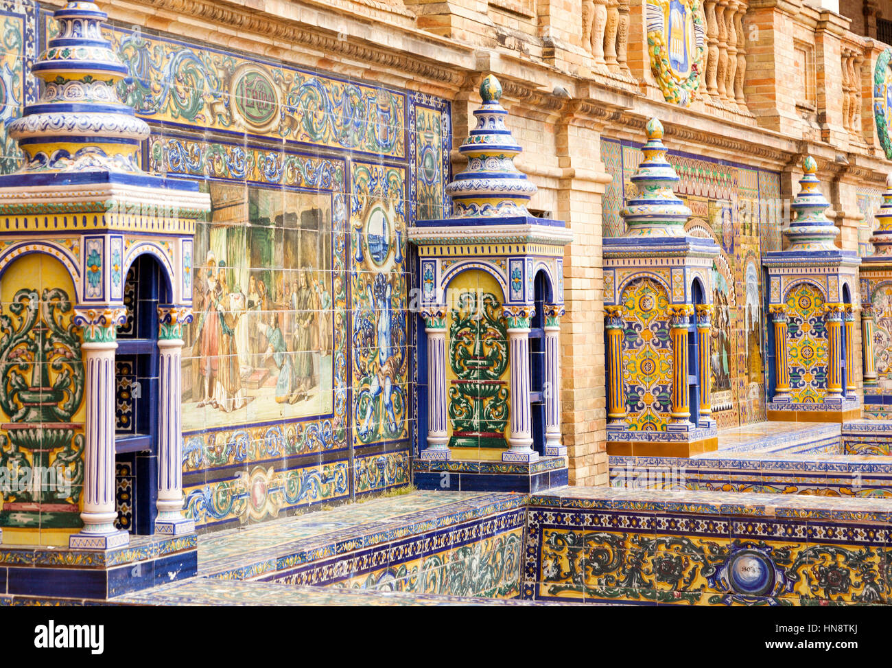 Seville spain april 30 2016 detail of the artistic ceramic seville spain april 30 2016 detail of the artistic ceramic tile work of province alcoves at plaza de espana dailygadgetfo Image collections