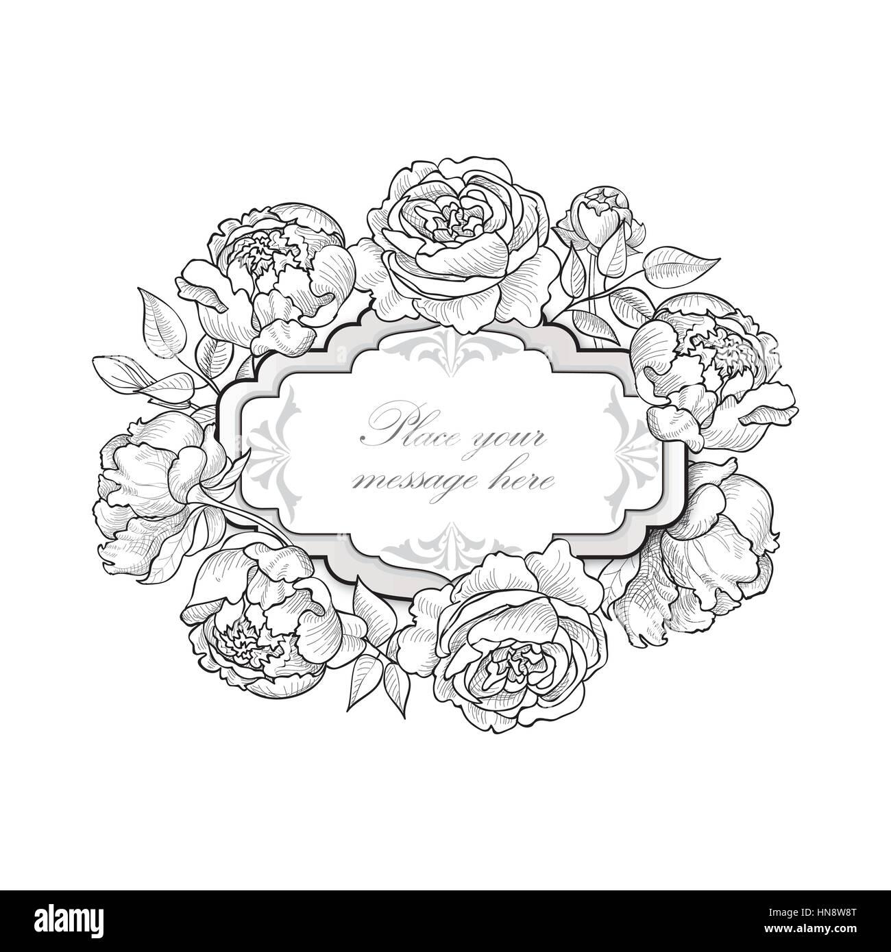 flower frame floral border vintage flourish background