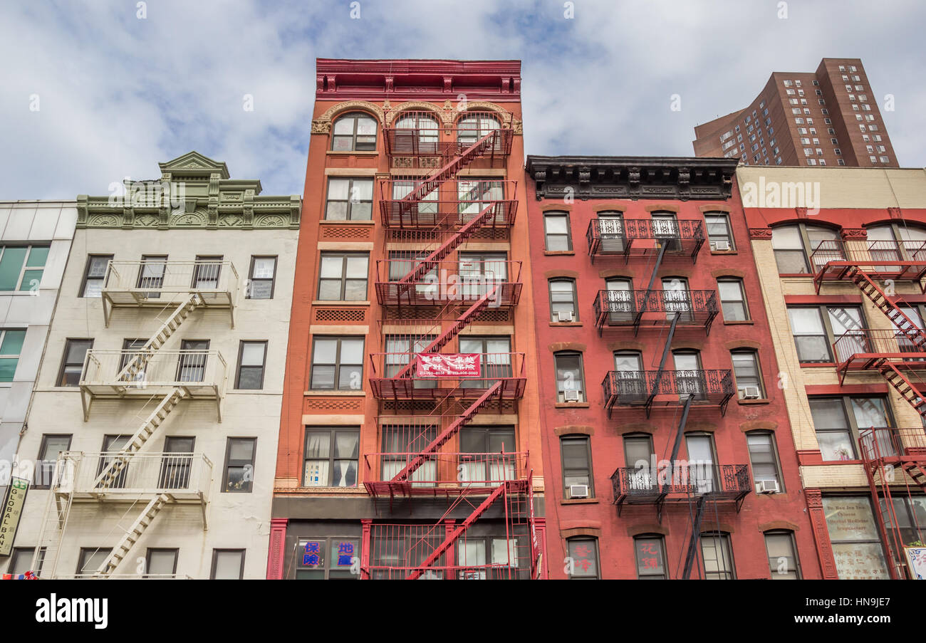 City Apartment Buildings apartment buildings in chinatown, new york city stock photo