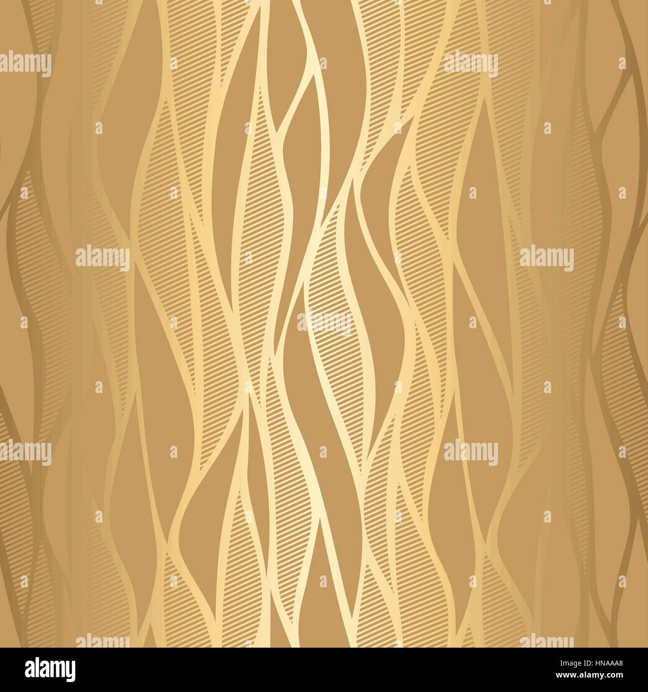 Luxury Golden Wallpaper Vintage Seamless Wave Pattern