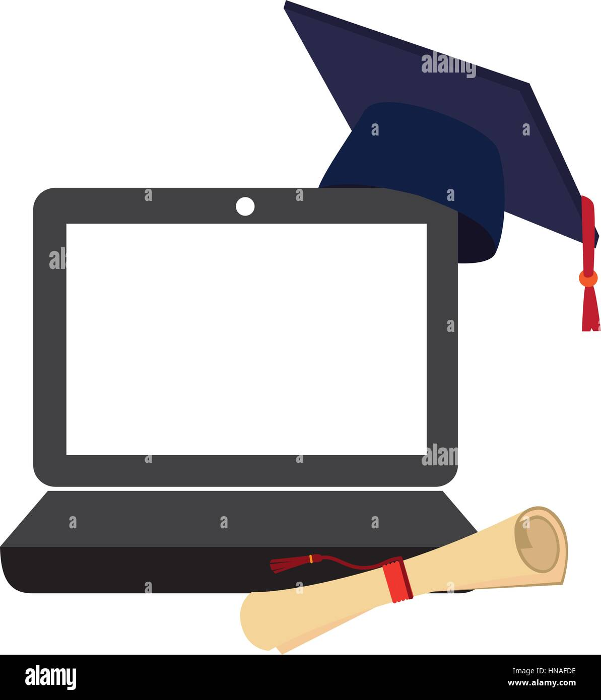 Tech laptop with certificate of graduation and graduation cap tech laptop with certificate of graduation and graduation cap vector illustration xflitez Images