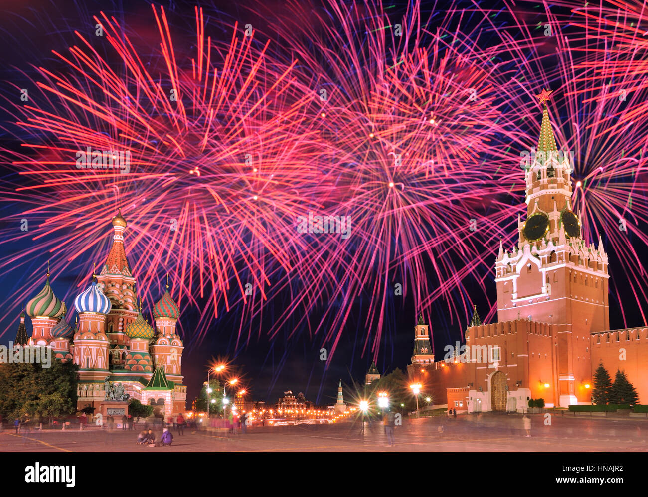 Red Fireworks Free Stock Photo: Fireworks Explode Over Red Square In Moscow, Russia Stock
