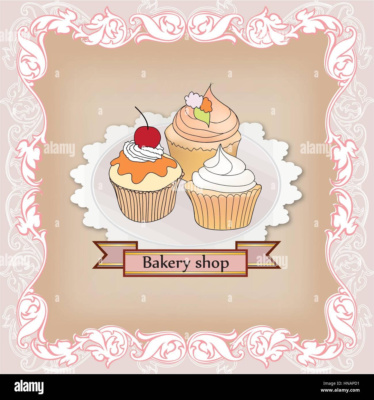 Poster design keywords - Vintage Cupcake Poster Design Sweets In Victorian Frame