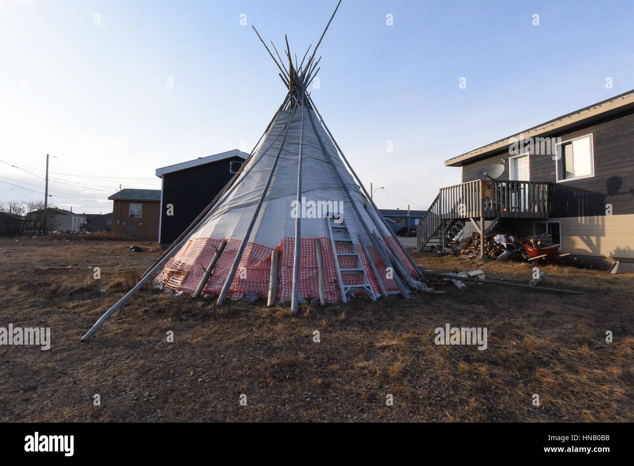 tepee in the backyard of a house northern quebec first nations