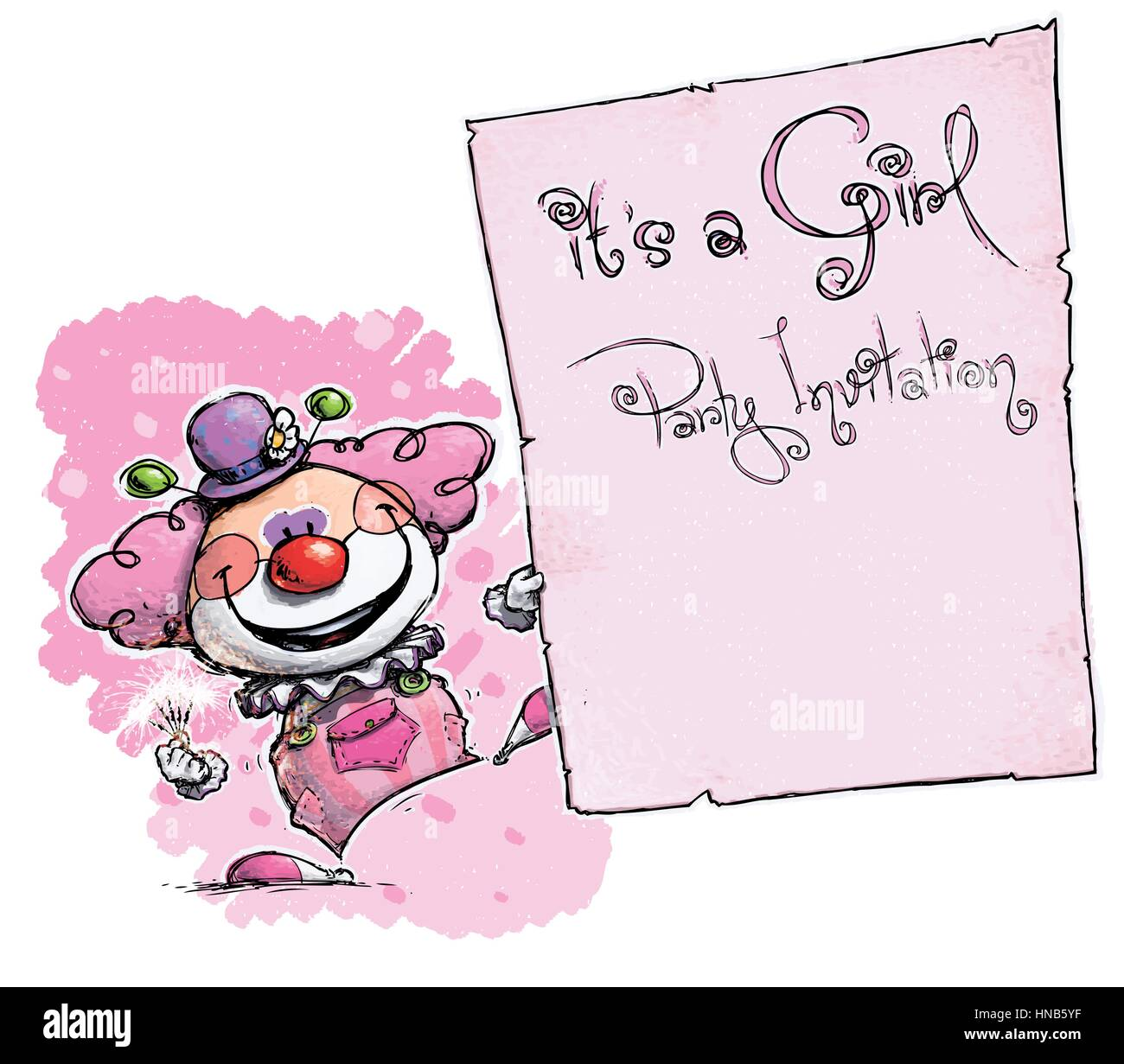 Cartoonartistic illustration of a clown holding an its a girl cartoonartistic illustration of a clown holding an its a girl party invitation monicamarmolfo Choice Image