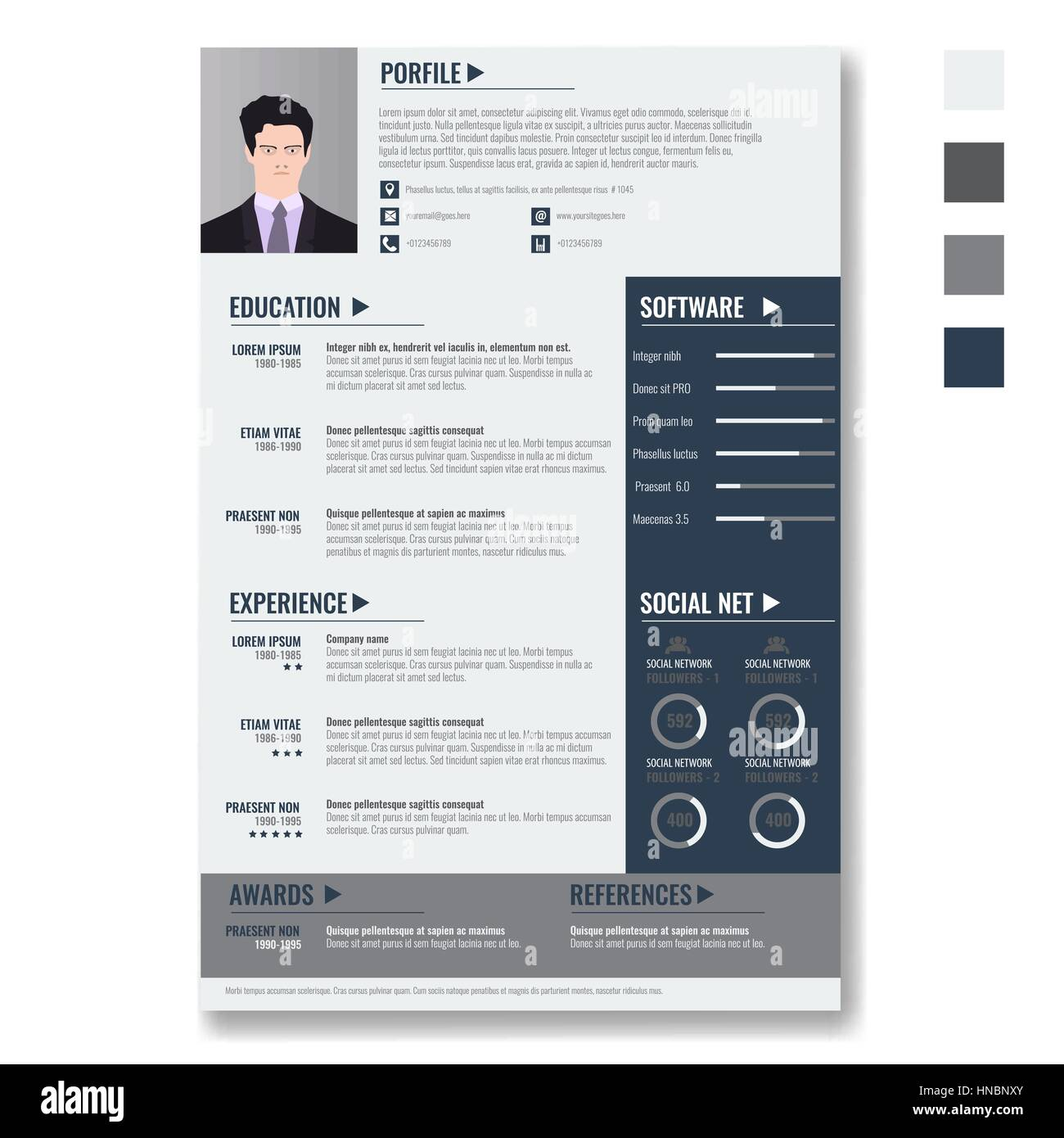 vector creative minimalist cv resume template with photo frame and infographic charts casual solid and clean template - Minimalist Resume Template