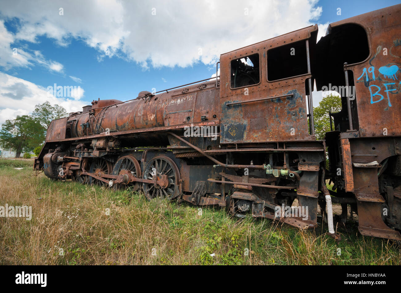 Abandoned Rusty Steam Locomotive Stock Photo, Royalty Free
