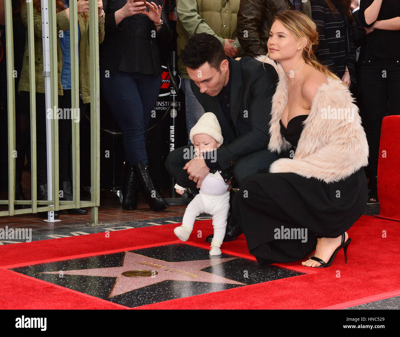 Los Angeles, USA. 10th February, 2017. a Adam Levine, wife ...