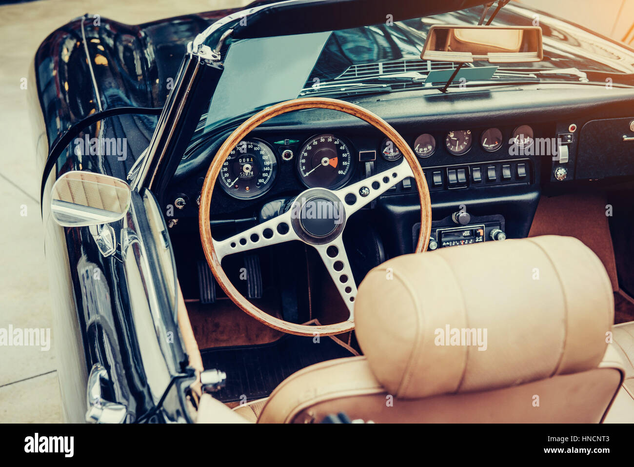 Luxury car interior. Beautiful retro style transport exhibition ...