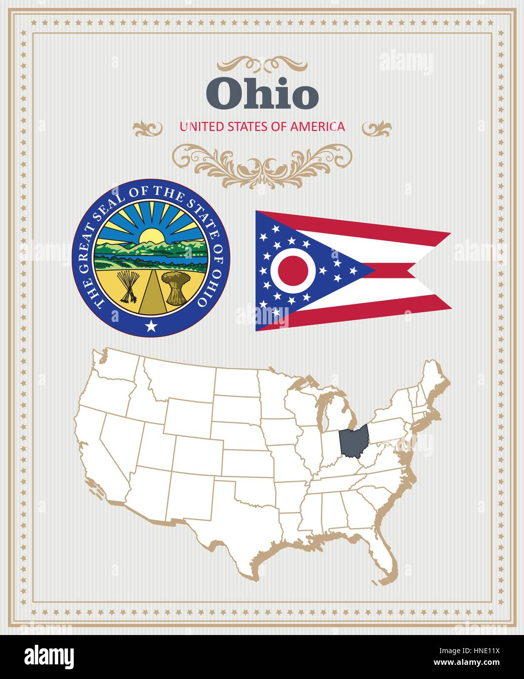 High detailed vector set with flag coat of arms map of Ohio