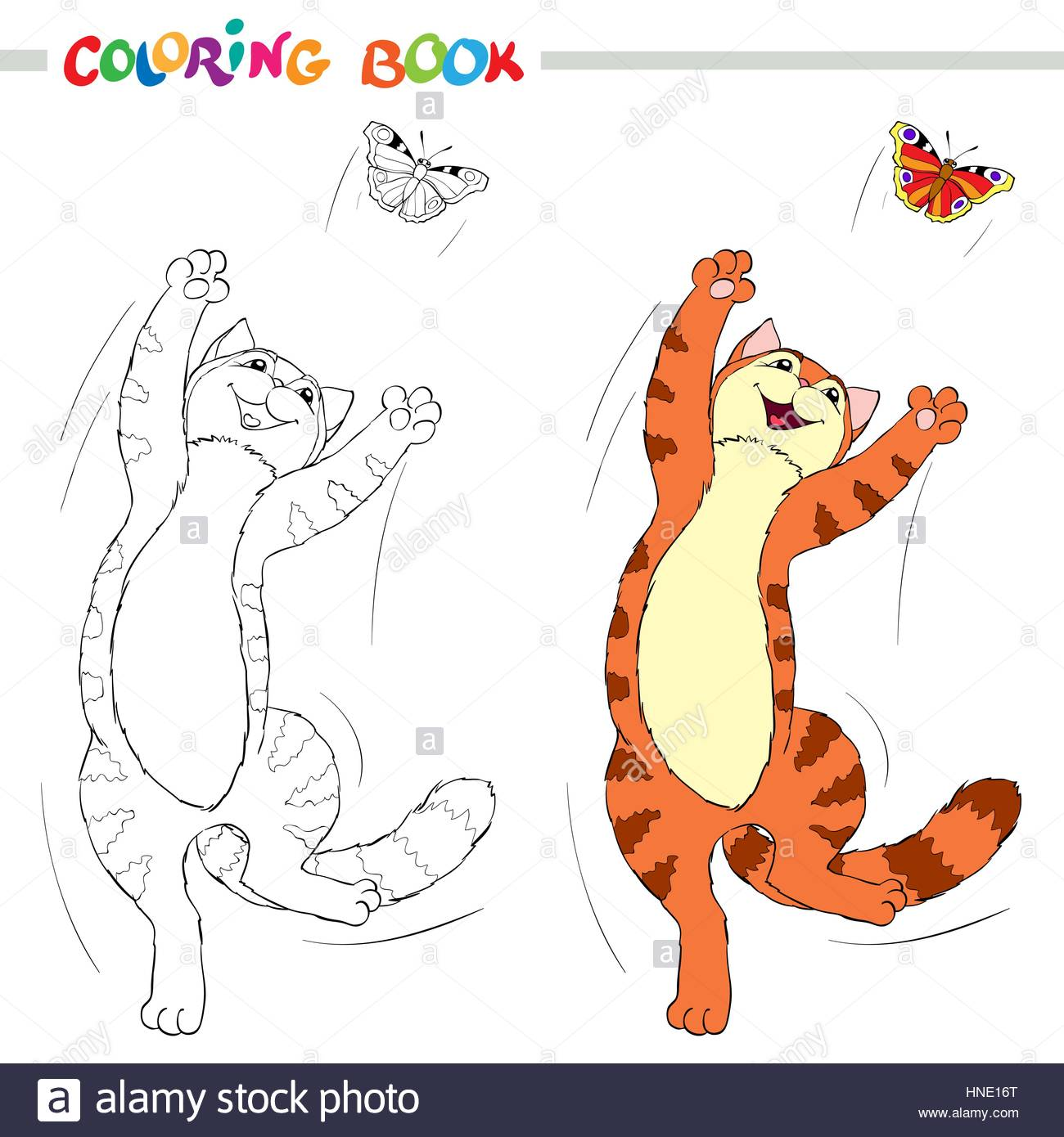coloring book or page red cat jumping over the butterflies on white background vector
