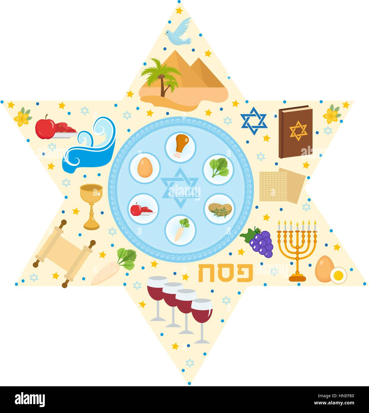 Passover greeting card with icons in the shape stars pesach passover greeting card with icons in the shape stars pesach template for your design vector illustration buycottarizona