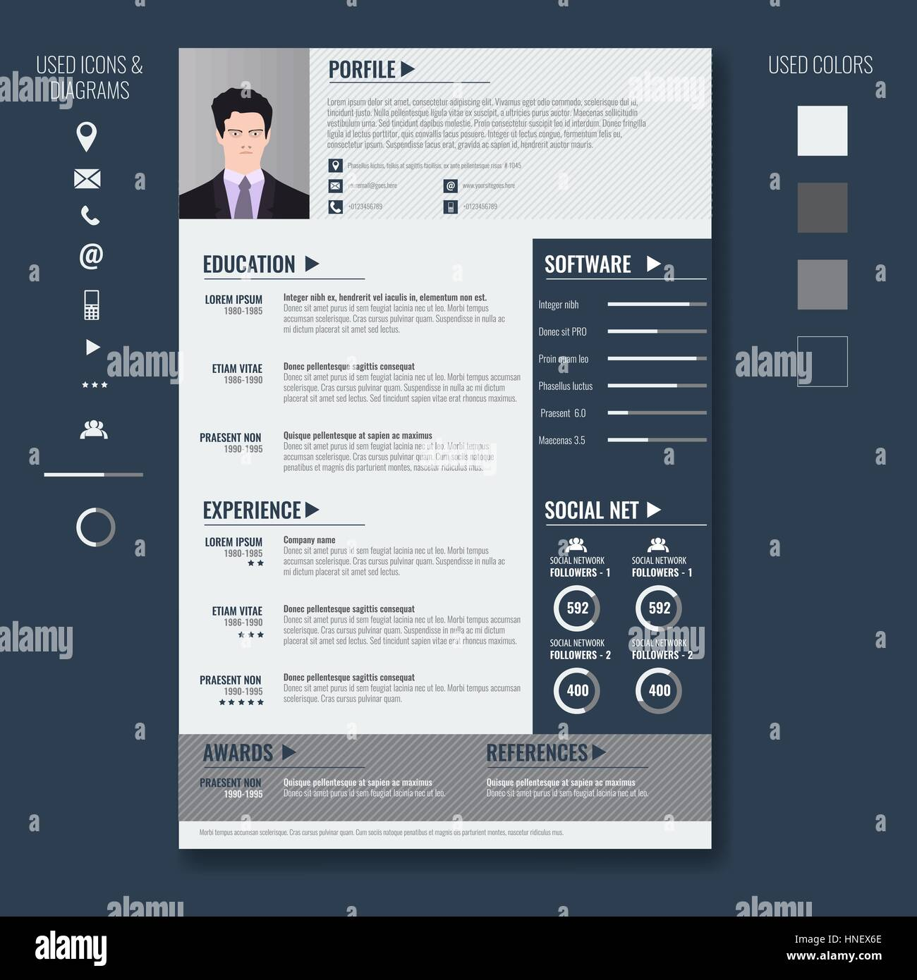 vector creative minimalist cv resume template with photo frame and stock vector art