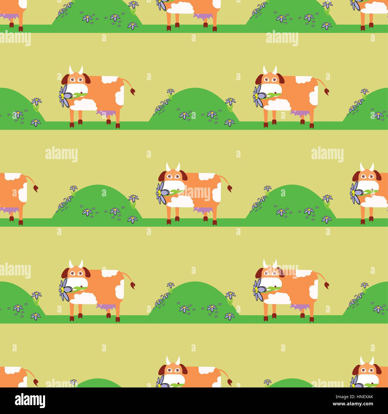 cow in the meadow seamless pattern children s illustration is