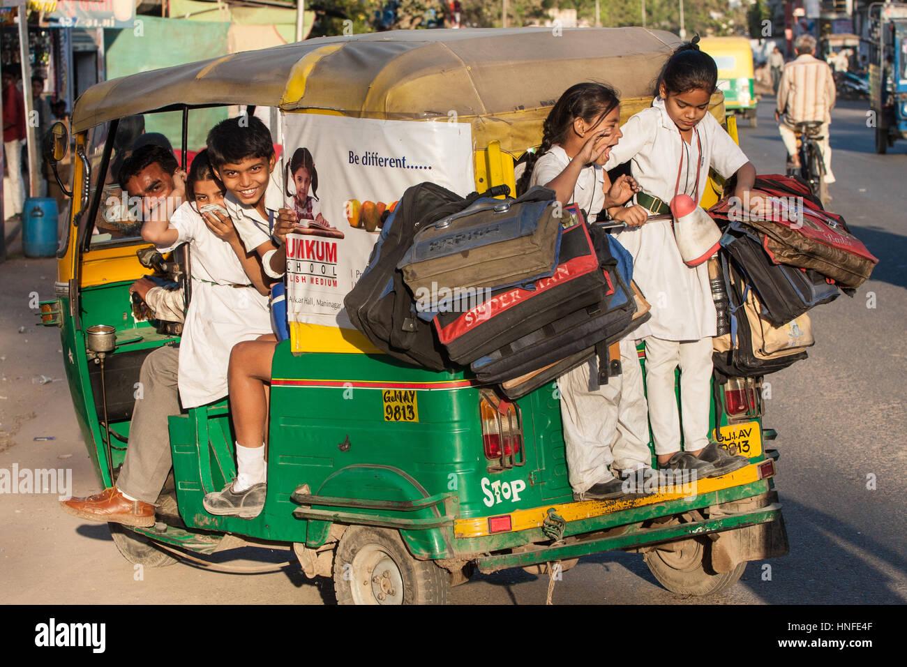School bag ahmedabad gujarat - School Children And Their School Bags On A School Run To Their Local School By A