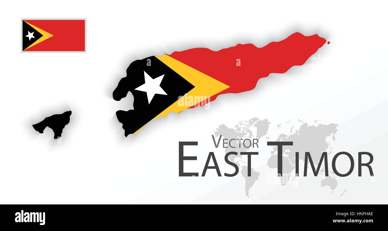 East Timor Democratic Republic Of TimorLeste Flag And Map - East timor seetimor leste map vector