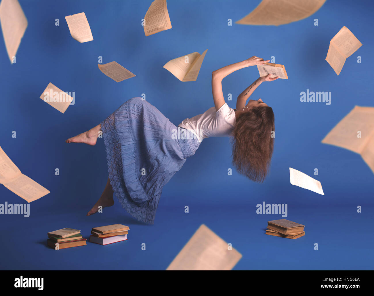 surreal creative design levitation flying woman levity people