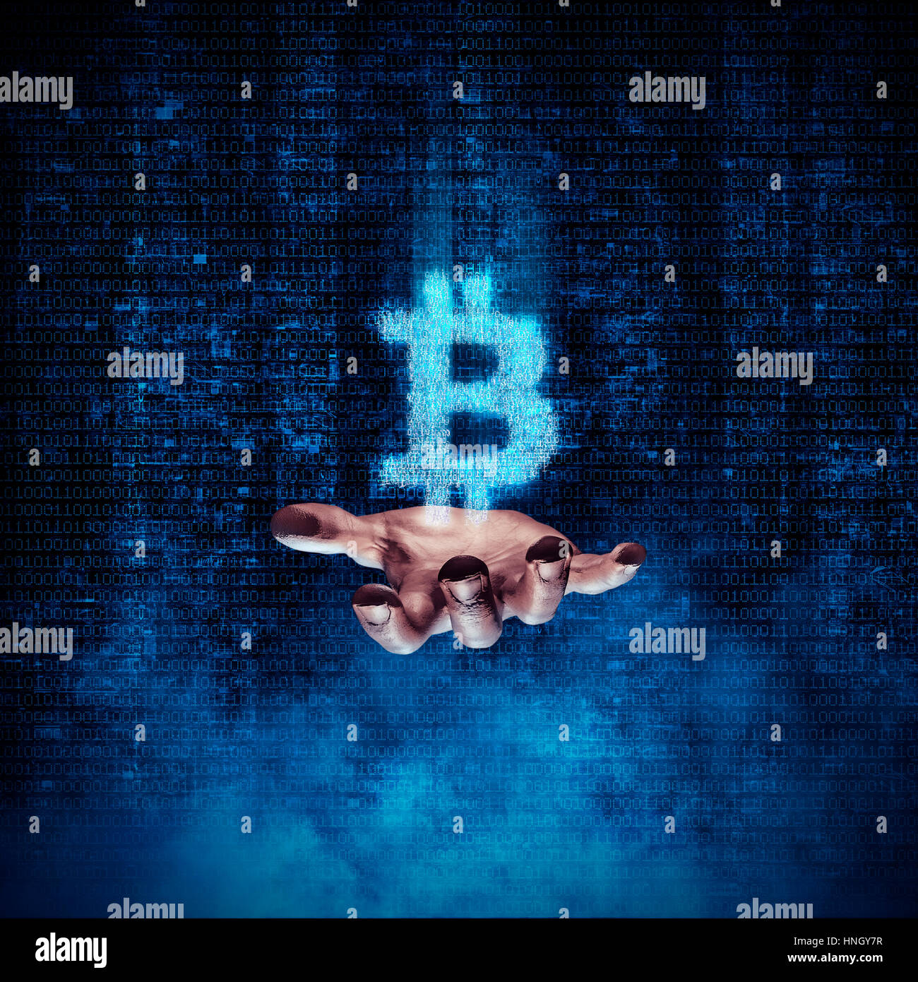 Binary Bitcoin Hand 3D Illustration Of Glowing Symbol Formed By Digits Floating Above Open