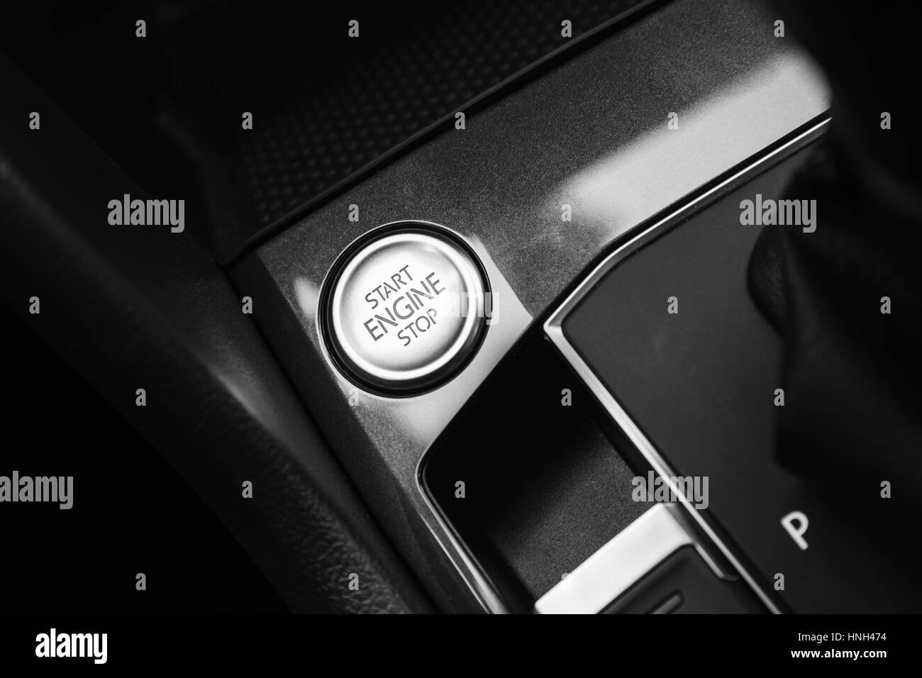 modern luxury car interior detail engine start stop button stock photo royalty free image. Black Bedroom Furniture Sets. Home Design Ideas
