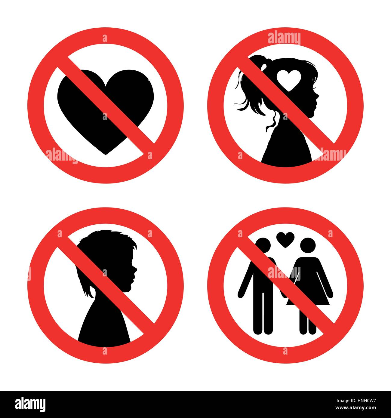 Prohibition sign icons collection set of vector illustration prohibition sign icons collection set of vector illustration isolated on white red forbidden circle no love no girls no boys no falling in love buycottarizona