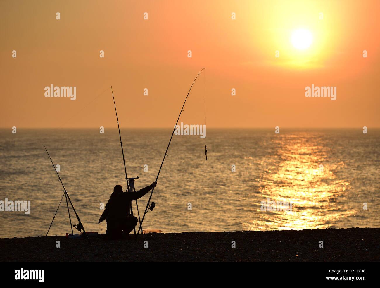 13th february 2017 fisherman taking advantage of the evening sunshine