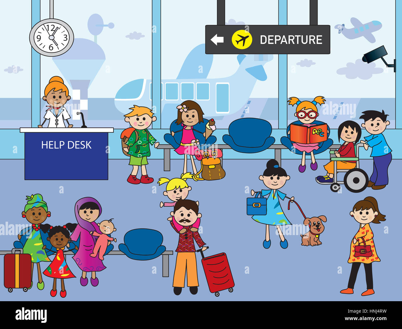 illustration of indoor airport with happy people Stock ...