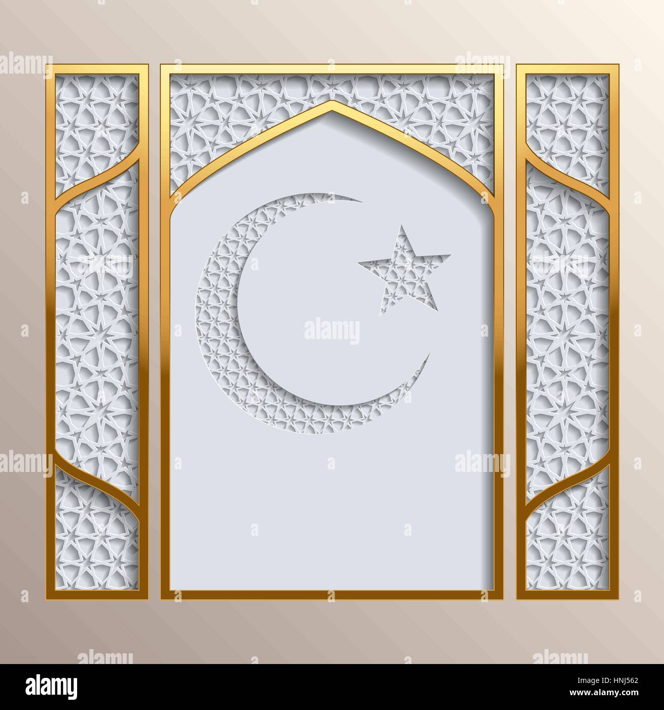 Islamic greeting card. Golden frame with 3D background