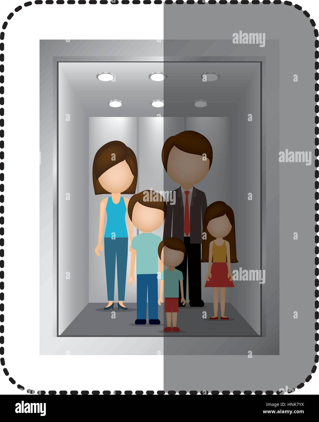 people inside elevator. stock vector - elevator with people inside icon image, illustration