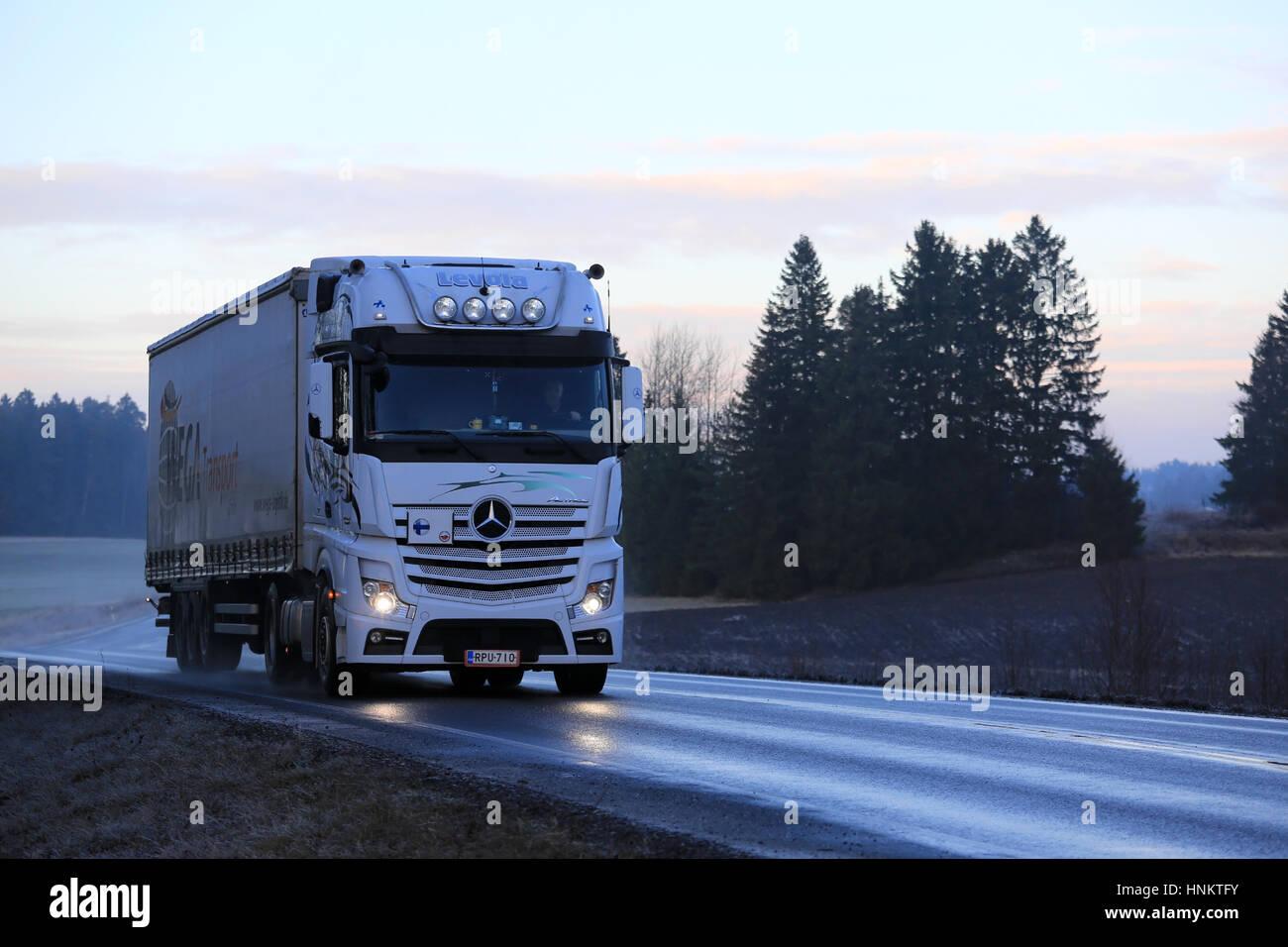 Mercedes benz 1848 axor more information - Salo Finland January 1 2017 White Mercedes Benz Actros Semi Cargo