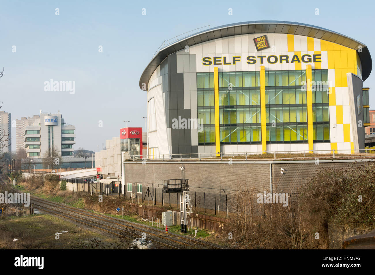 big yellow self storage brentford london uk stock photo royalty free image 133825946 alamy. Black Bedroom Furniture Sets. Home Design Ideas