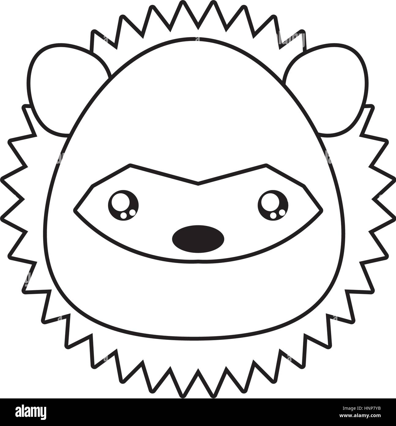 stock vector porcupine drawing face